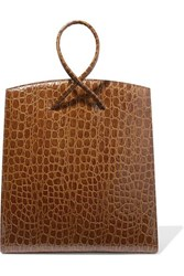Little Liffner Twisted Croc Effect Leather Tote Brown