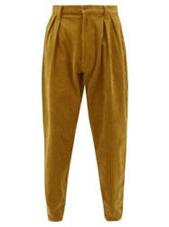 E. Tautz Chore Cotton Corduroy Tapered Trousers Yellow