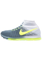 Nike Performance Zoom All Out Flyknit Neutral Running Shoes Blue Fox Volt Pure Platinum Black