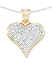 Signature Gold Diamond Accent Swarovski Crystal Heart 18 Pendant Necklace In 14K Over Resin Yellow Gold