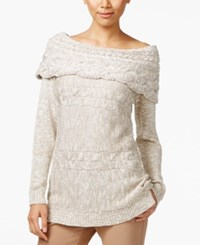 Inc International Concepts Petite Boat Neck Cable Knit Sweater Only At Macy's Gold