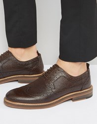 Asos Brogue Shoes In Brown Scotchgrain Leather With Heavy Sole Brown