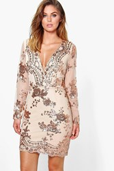 Boohoo Fi Sequin Print Mesh Bodycon Dress Gold