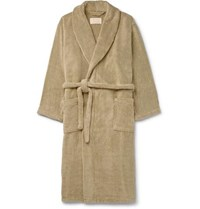 Cleverly Laundry Striped Cotton Terry Robe Green
