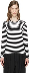 Comme Des Garcons Girl White And Black Striped T Shirt