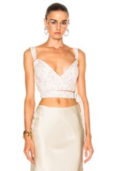 Calvin Klein Collection Linnetra L Faded Leather Floral Bouquet Bustier In Floral White Floral White