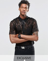 Reclaimed Vintage Lace Shirt With Neck Tie Black