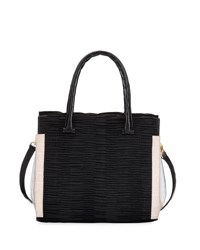 Nancy Gonzalez Straw And Crocodile Carryall Tote Bag Black Pink