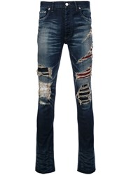 Fagassent Distressed Bootcut Jeans Blue