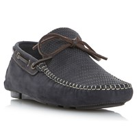 Bertie Baraboo Leather Driving Loafers Navy