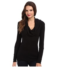 Splendid Thermal L S Cowl Neck Tunic Black Women's Long Sleeve Pullover