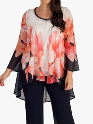 Chesca High Low Chiffon Floral Coat Navy Coral Ivory