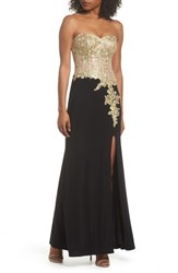 Blondie Nites 'S Applique Strapless Bustier Gown Black Gold