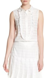 Abs By Allen Schwartz Sleeveless Ruffle Front Button Down Shirt White