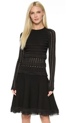 Jason Wu Grid Long Sleeve Dress With Fringe Black