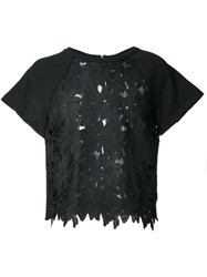Marna Ro Floral Lace T Shirt Black