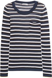 Sonia Rykiel Striped Silk And Cotton Blend Top Navy