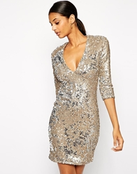 Tfnc Bodycon Sequin Dress With Deep Plunge Neckline Brushedgold