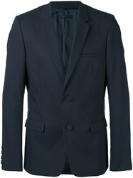 Calvin Klein Collection Two Button Blazer Men Cotton Cupro 50 Blue