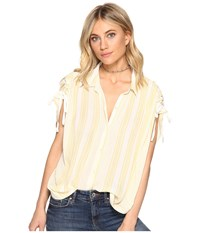 Free People Baby Blues Button Down Ivory Women's Short Sleeve Button Up White