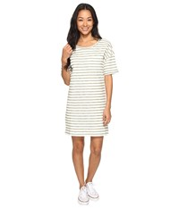Roxy Get Together T Shirt Dress Oil Green Friday Stripe Women's Dress White