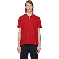 Thom Browne Red Center Back Stripe Polo