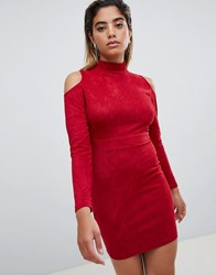 Ax Paris Cold Shoulder Long Sleeve Bodycon Dress Red