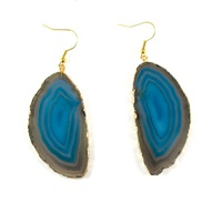 Amanda Marcucci Teal Agate Earrings Blue