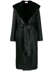 The Row Hooded Leather Midi Coat Black