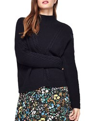 Miss Selfridge Cable Knit Textured Mock Turtleneck Sweater Navy