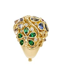 Temple St. Clair 18K Yellow Gold Flower Serpent Ring With Royal Blue Moonstone Blue Sapphire Tsavorite Pink Tourmaline And Diamonds Multi Gold