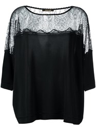 Roberto Cavalli Sheer Panel Flared Blouse Black