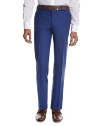 Kiton Tropical Wool Cashmere Flat Front Trousers High Blue