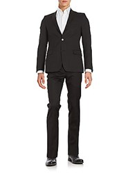 Versace Regular Fit Tonal Striped Wool Suit Dark Charcoal