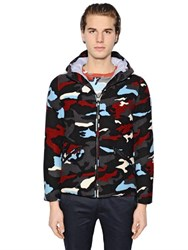 Moncler Gamme Bleu Hooded Camouflage Wool Down Jacket