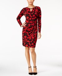 Thalia Sodi Printed Faux Wrap Sheath Dress Only At Macy's Deep Black Combo