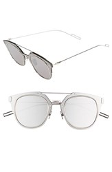 Men's Christian Dior 'Composit 1.0S' 50Mm Metal Shield Sunglasses Palladium Grey Silver Mirror