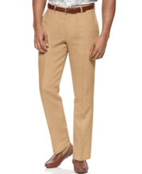 Tasso Elba Island Big And Tall Flat Front Linen Pants Safari Tan