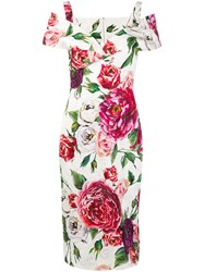 Dolce And Gabbana Floral Print Cold Shoulder Dress Multicolour