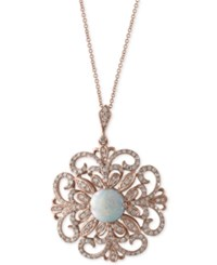 Effy Aurora By Opal 1 1 4 Ct. T.W. And Diamond 2 3 Ct. T.W. Pendant Necklace In 14K Rose Gold