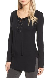 Trouve Women's Ribbed Lace Up Sweater
