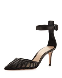 Gianvito Rossi Striped Mesh And Leather D'orsay Pump Black