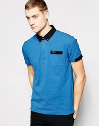 Voi Jeans Polo Shirt Contrast Collar And Cuffs Blue