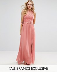 Little Mistress Tall Allover Lace Top Maxi Dress With Applique Belt Detail Rose Pink