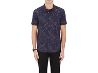 John Varvatos Star U.S.A. Men's Flies Print Cotton Slim Fit Shirt Navy Blue