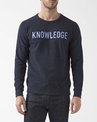 Knowledge Cotton Apparel Navy Blue Crew Neck Sweatshirt With Logo