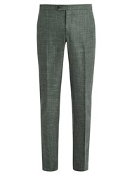 Thom Sweeney Wool Blend Tailored Trousers Green