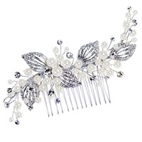 Ivory And Co. Faux Pearl Cubic Zirconia Pave Leaf Hair Comb Silver
