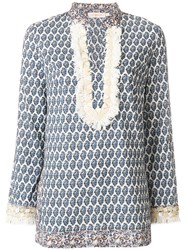 Tory Burch Fringed Detail Patterned Tunic Women Cotton 8 White