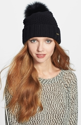 Burberry Genuine Blue Fox Fur Pompom Beanie Black